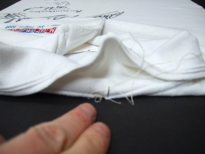Making hidden stitches behind the collar