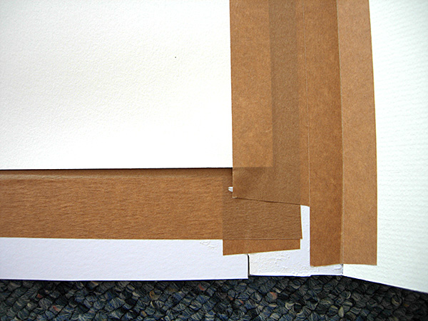 brown frame backing tape used extensively on picture mount