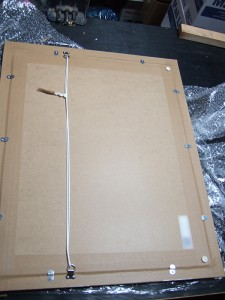 Reassembled frame with backing board attached