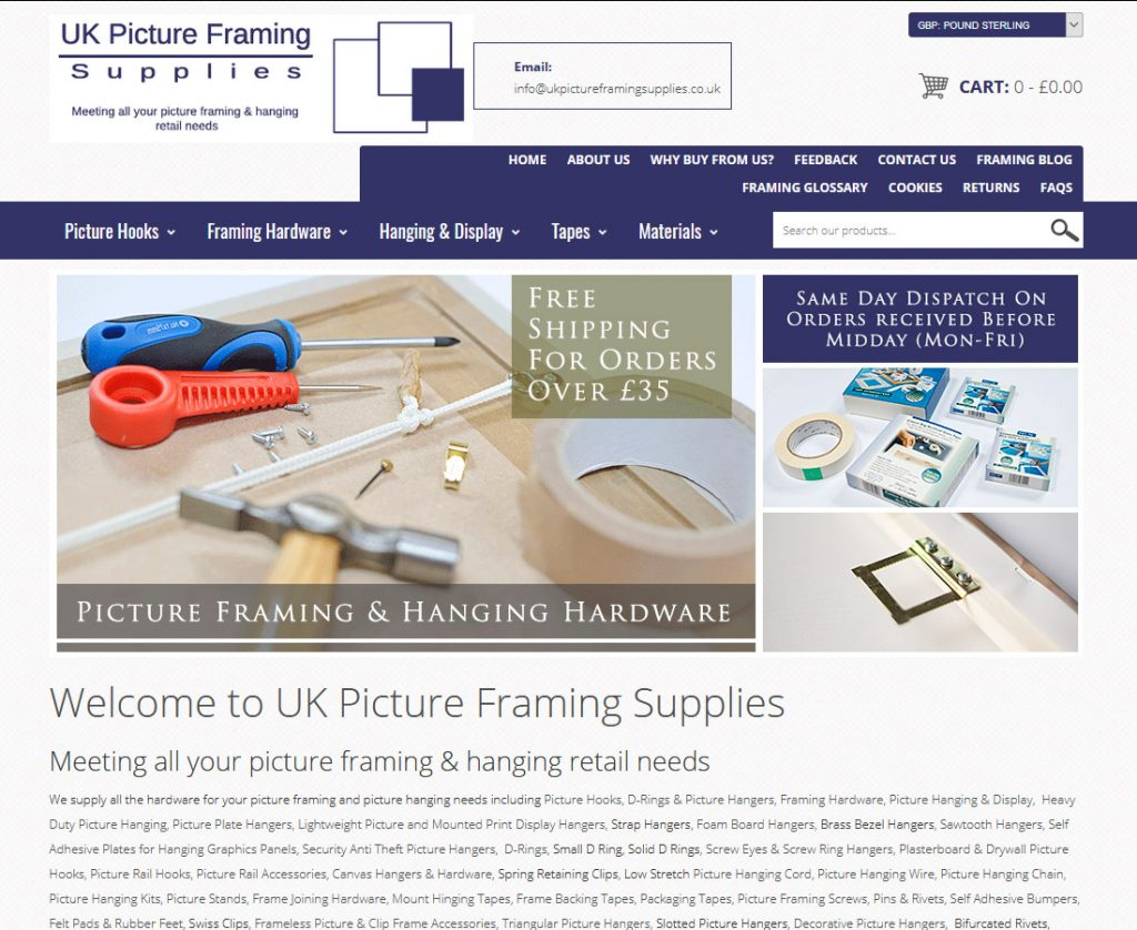 UK Picture Framing Supplies New Website